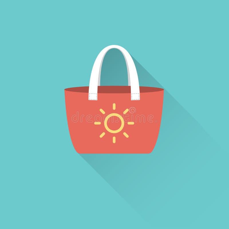 Icona piana della borsa della spiaggia su fondo blu royalty illustrazione gratis