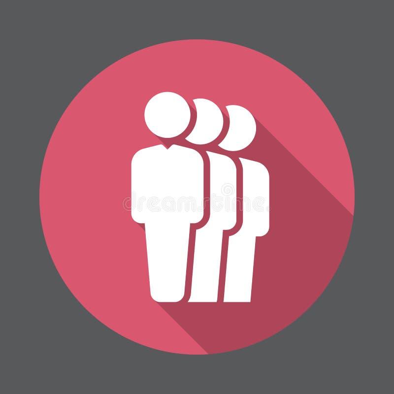Icona piana della coda della gente Bottone variopinto rotondo, segno circolare di vettore con effetto ombra lungo royalty illustrazione gratis