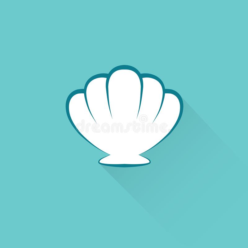 Icona piana della conchiglia su fondo blu royalty illustrazione gratis