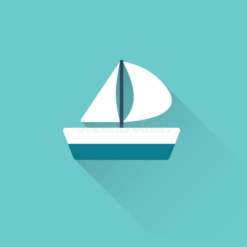 Icona piana della conchiglia su fondo blu illustrazione di stock