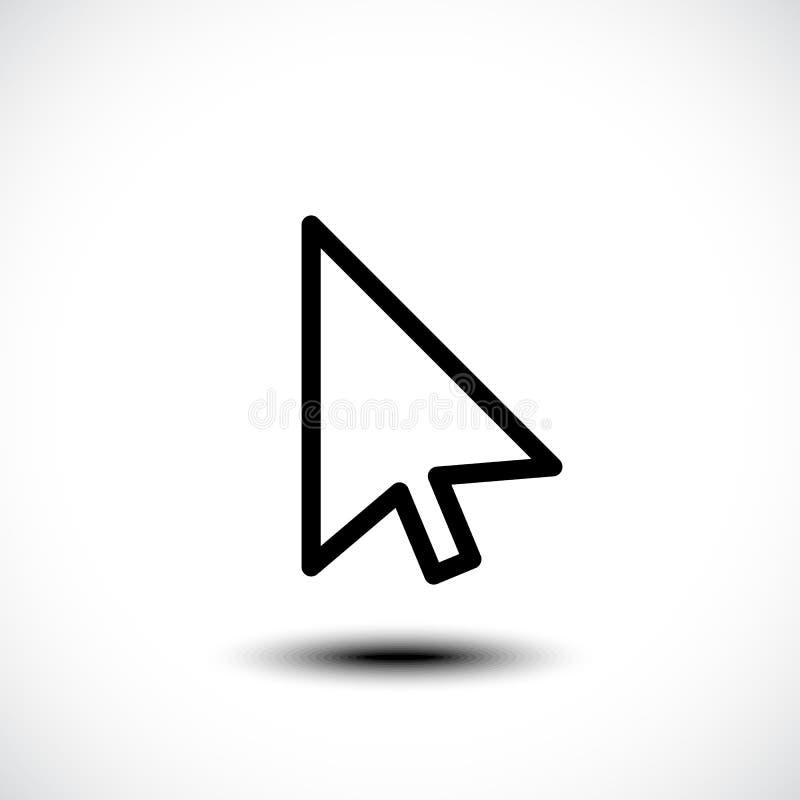 Icona piana della freccia del cursore del puntatore di clic di mouse del computer immagine stock