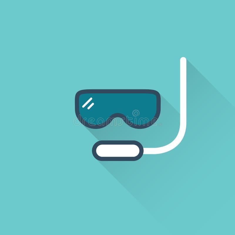 Icona piana della maschera di immersione subacquea su fondo blu illustrazione di stock