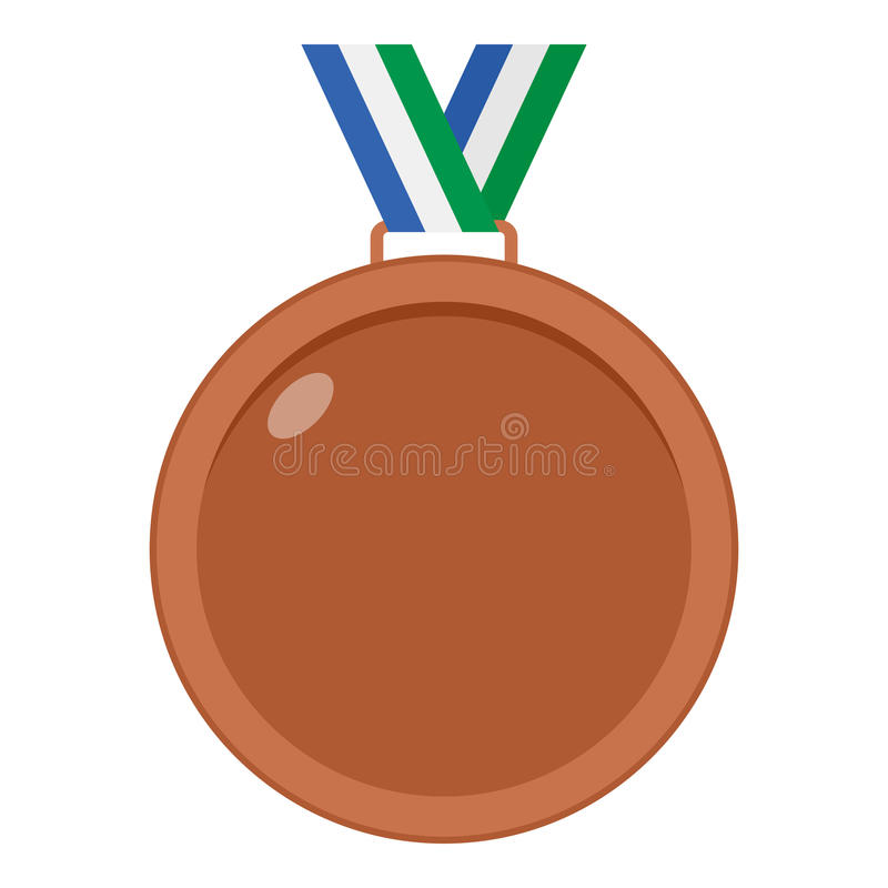 Icona piana della medaglia di bronzo isolata su bianco royalty illustrazione gratis