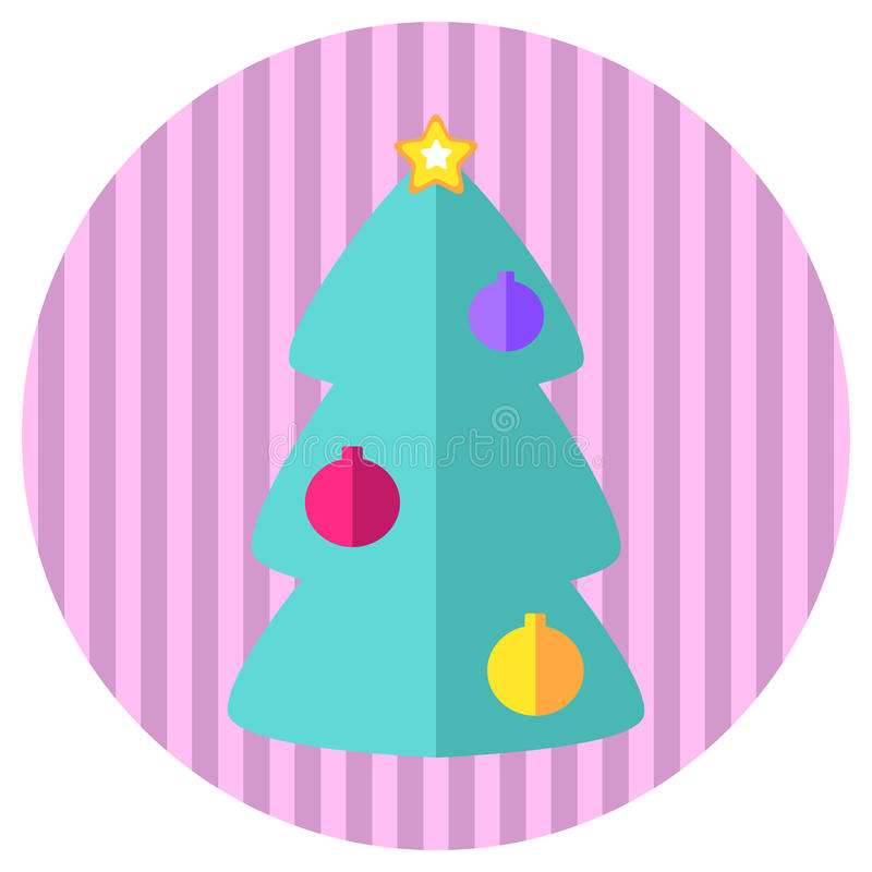 Icona piana della menta e rosa di abete dell'albero di stile Retro Natale di stile o bollo o logo del nuovo anno con l'albero di  illustrazione vettoriale