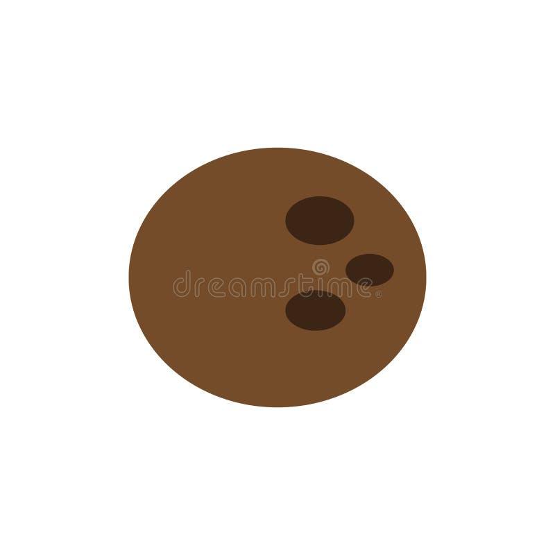 Icona piana della noce di cocco illustrazione colorata di progettazione di vettore illustrazione vettoriale
