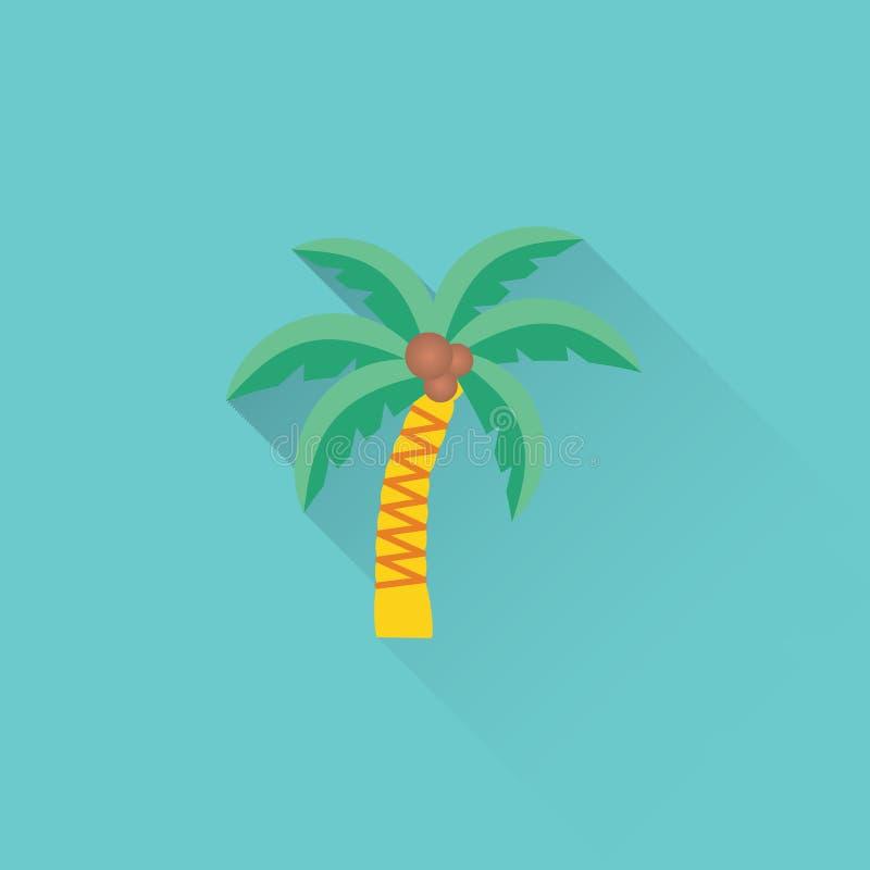 Icona piana della palma su fondo blu illustrazione vettoriale