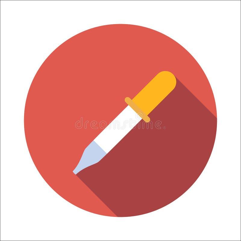 Icona piana della pipetta illustrazione di stock