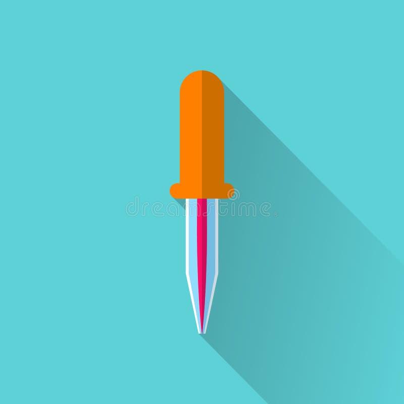 Icona piana della pipetta illustrazione vettoriale
