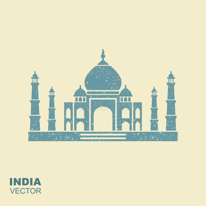 Icona piana della siluetta di Taj Mahal con la scalfittura dell'effetto royalty illustrazione gratis