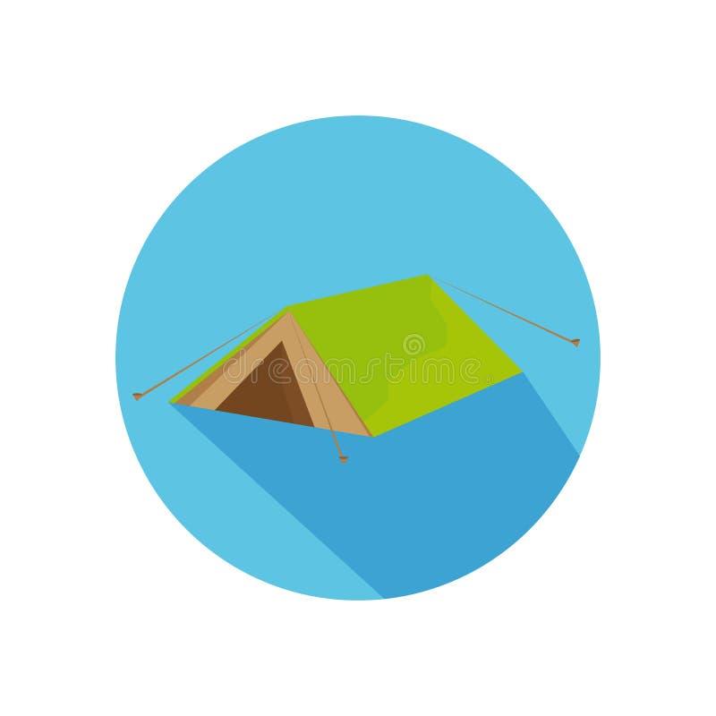 Icona piana della tenda con ombra lunga per il viaggio, facente un'escursione illustrazione di stock