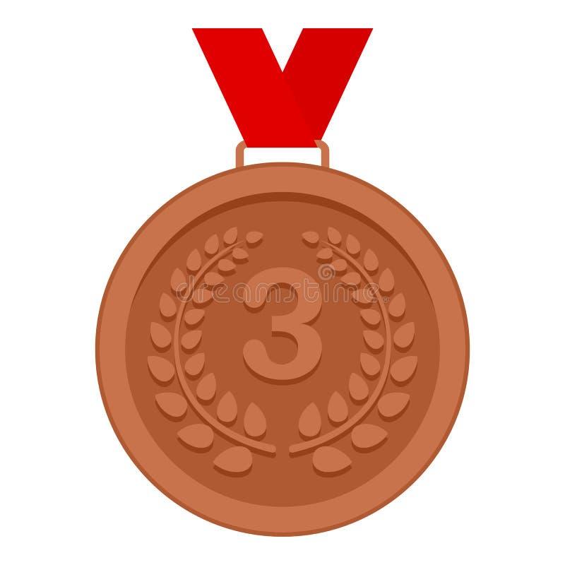 Icona piana della terza medaglia del posto isolata su bianco illustrazione di stock