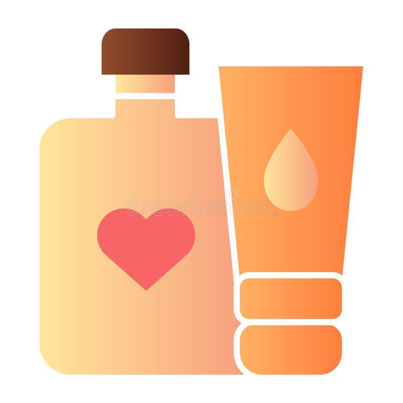 Icona piana delle bottiglie della crema del bambino Icone di colore della bottiglia della crema e della lozione nello stile piano illustrazione vettoriale