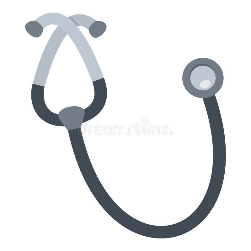 Icona piana dello stetoscopio isolata su bianco illustrazione vettoriale