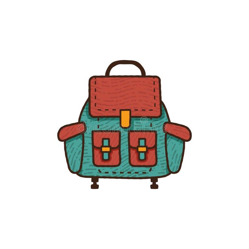 Icona piana dello zaino Retro progettazione di campeggio unica Distintivo disegnato a mano d'annata dell'attrezzatura di viaggio, royalty illustrazione gratis