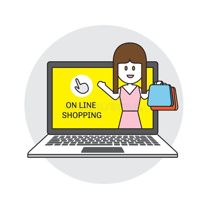 Icona piana di acquisto di commercio elettronico di affari di concetto dell'illustrazione online di vettore illustrazione di stock