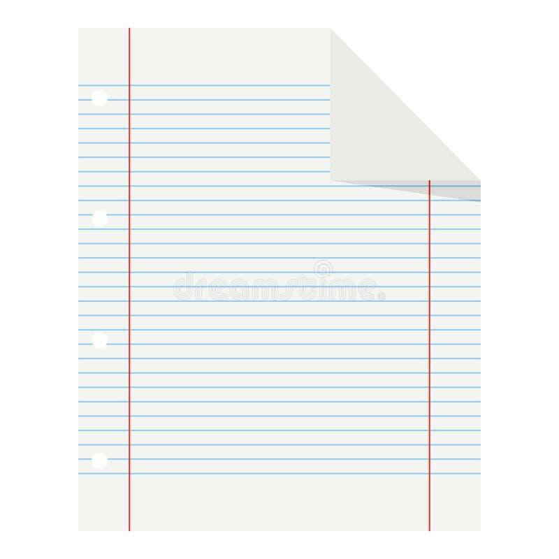 Icona piana di carta allineata scuola in bianco su bianco royalty illustrazione gratis