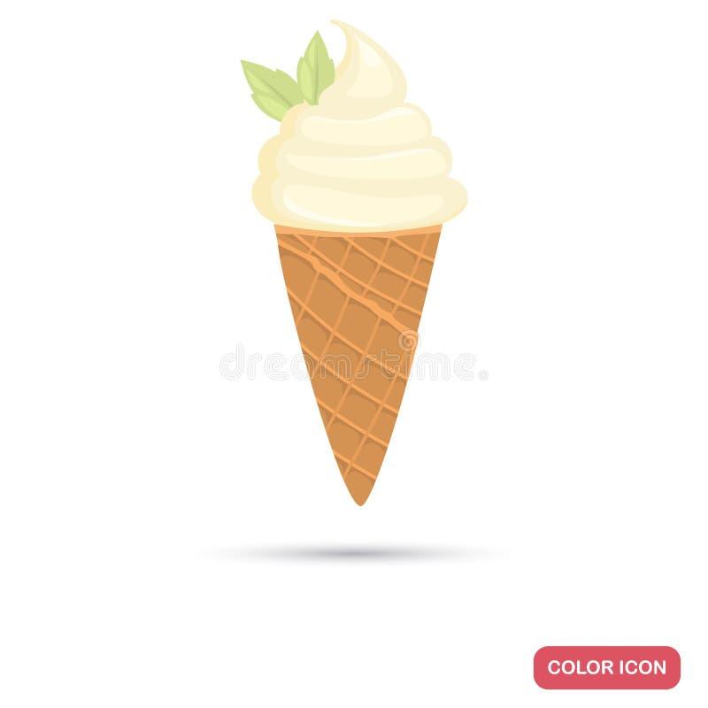 Icona piana di colore del cono del gelato alla vaniglia royalty illustrazione gratis
