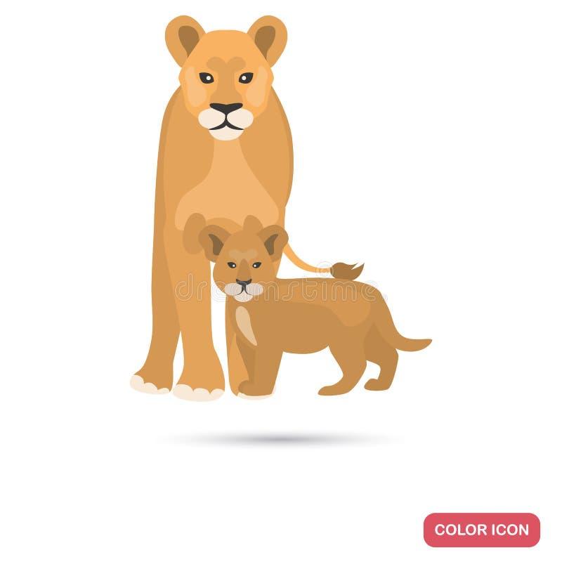 Icona piana di colore del cucciolo e della leonessa illustrazione di stock