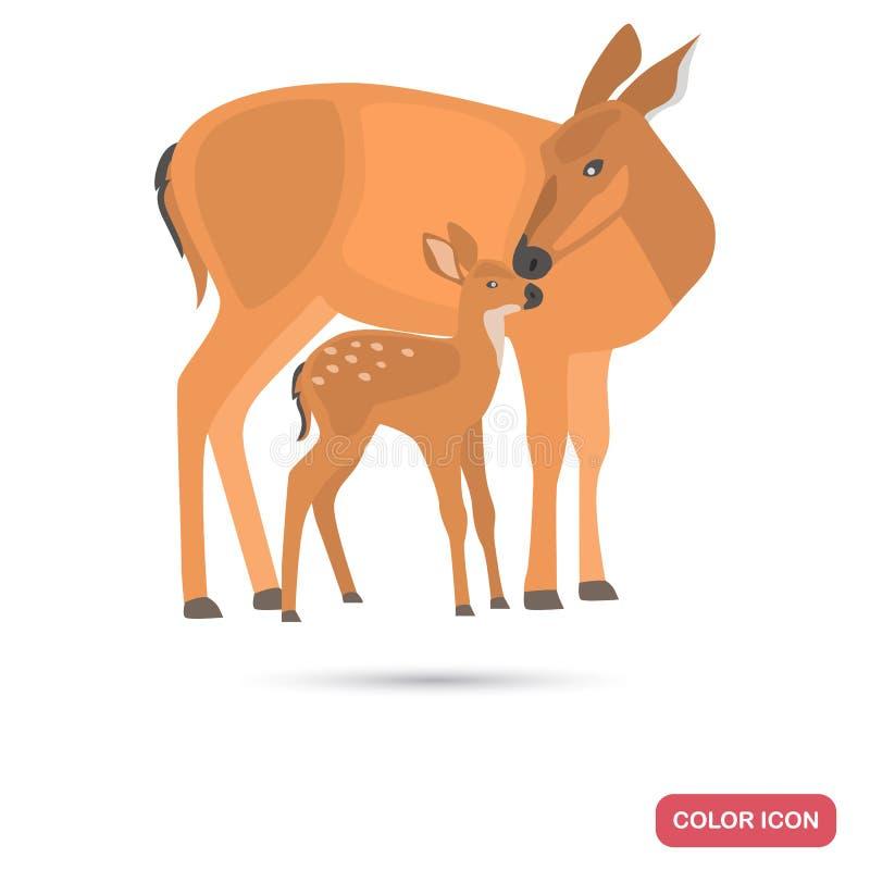 Icona piana di colore del fawn e dei cervi royalty illustrazione gratis