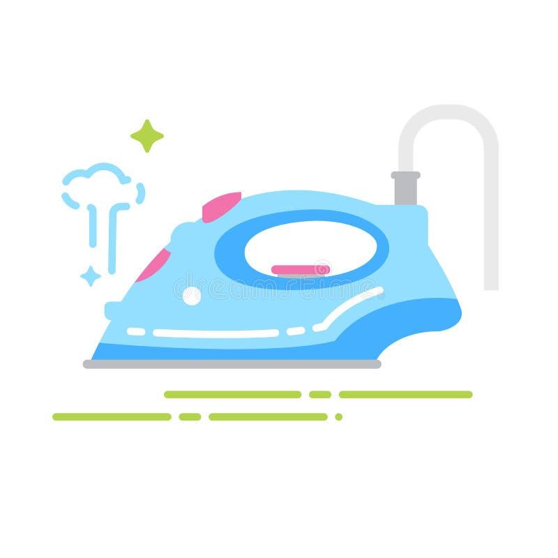 Icona piana di colore del ferro di vapore Segno per la pagina Web, app mobile, insegna Modello piano isolato illustrazione vettoriale