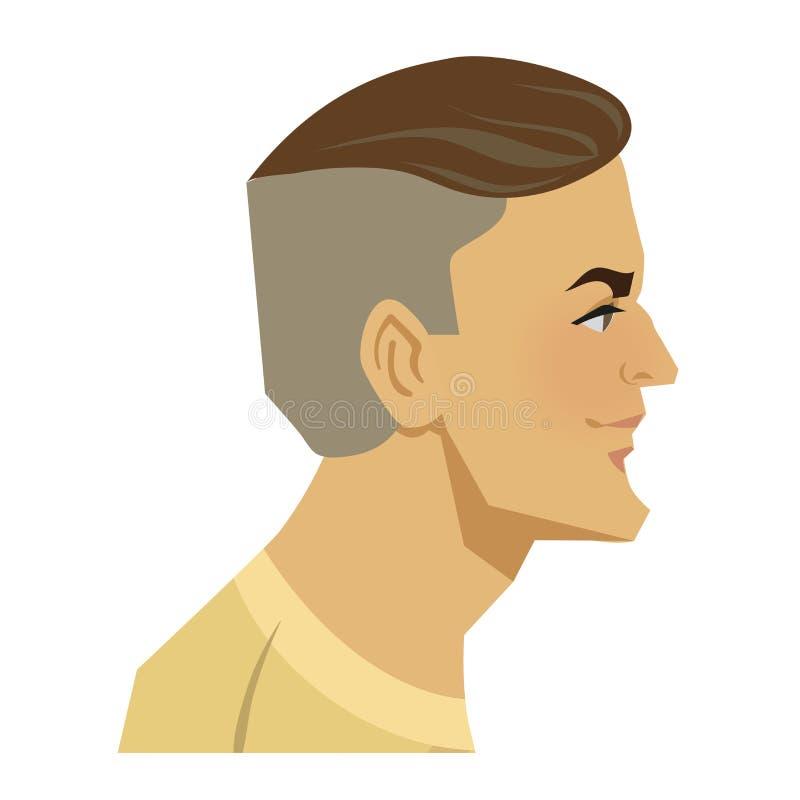 Icona piana di colore dell'avatar del signore isolata su fondo bianco Testa dell'uomo alla moda bello Illustrazione di vettore illustrazione di stock