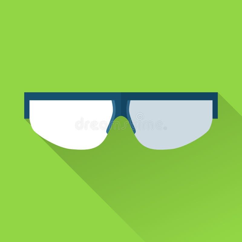 Icona piana di colore di occhiali di protezione illustrazione vettoriale
