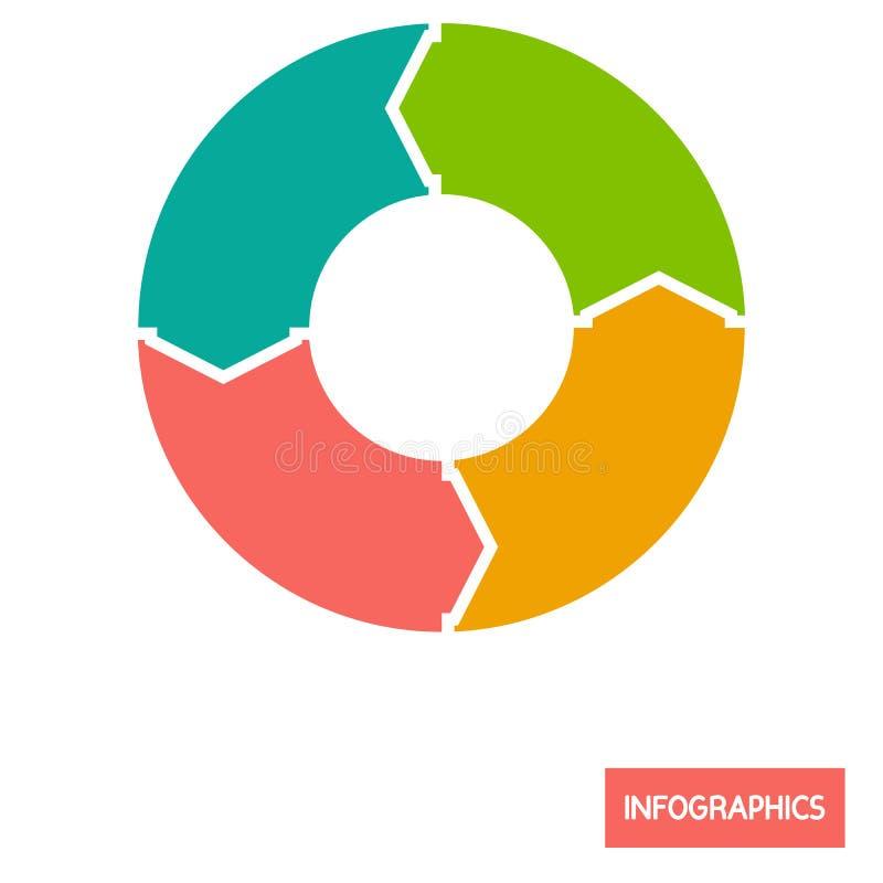 Icona piana di colore infographic dell'elemento di diagramma del cerchio illustrazione di stock