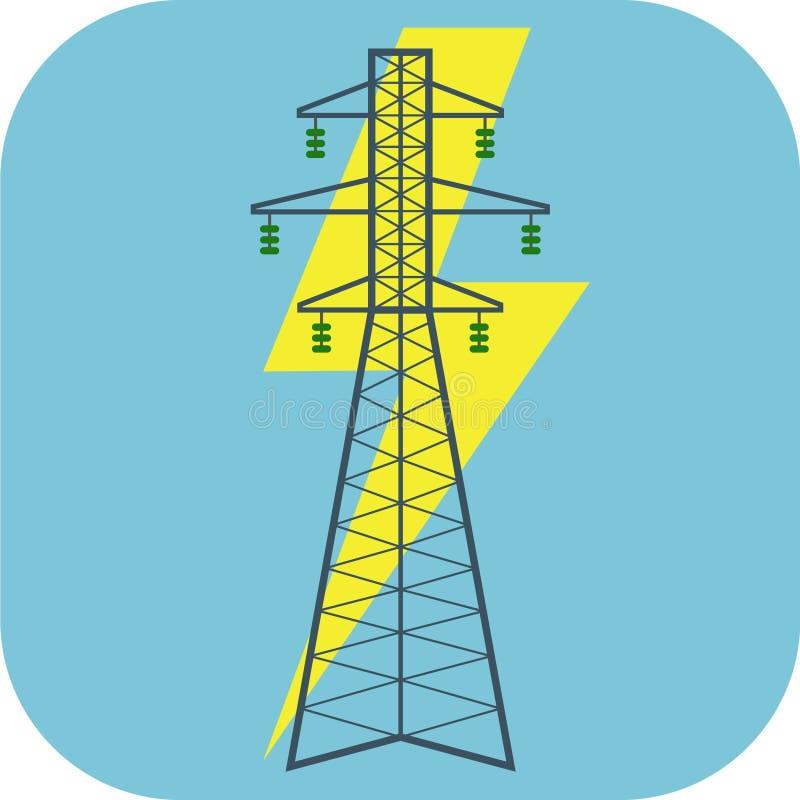 Icona piana di elettricità illustrazione di stock