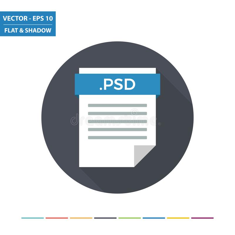 Icona piana di formato di file del documento di immagine raster di PSD illustrazione di stock