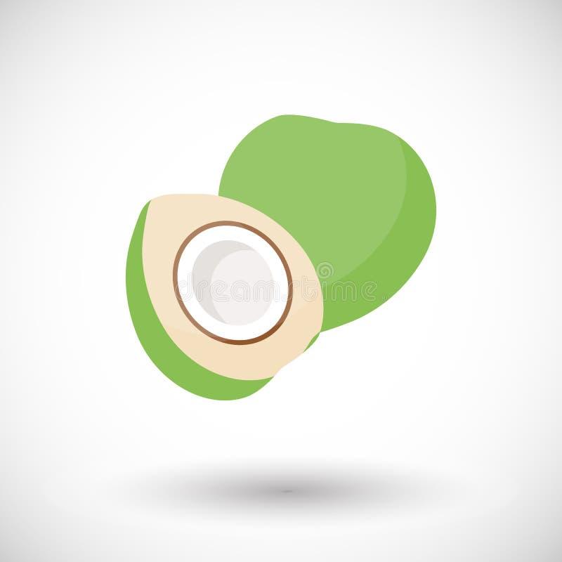 Icona piana di giovane vettore verde della noce di cocco illustrazione di stock