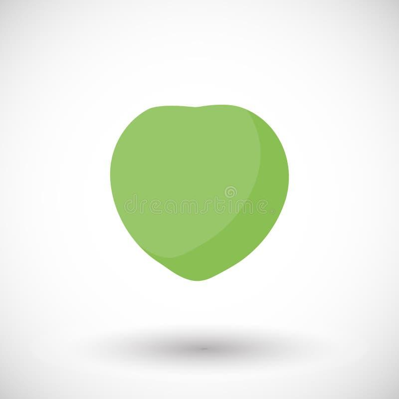 Icona piana di giovane vettore verde della noce di cocco illustrazione vettoriale