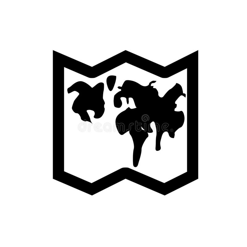 Icona piana di posizione, icona della mappa Mappa di vettore con l'icona dell'etichetta Mappa con un perno isolato su bianco Prog royalty illustrazione gratis
