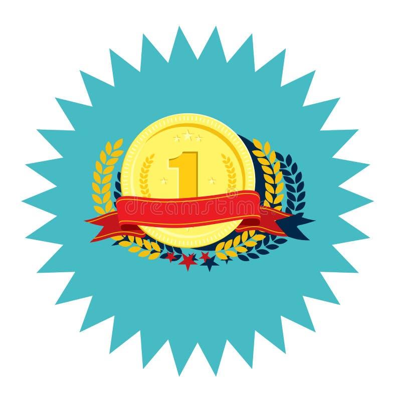 Icona piana di progettazione del primo posto della medaglia del vincitore royalty illustrazione gratis