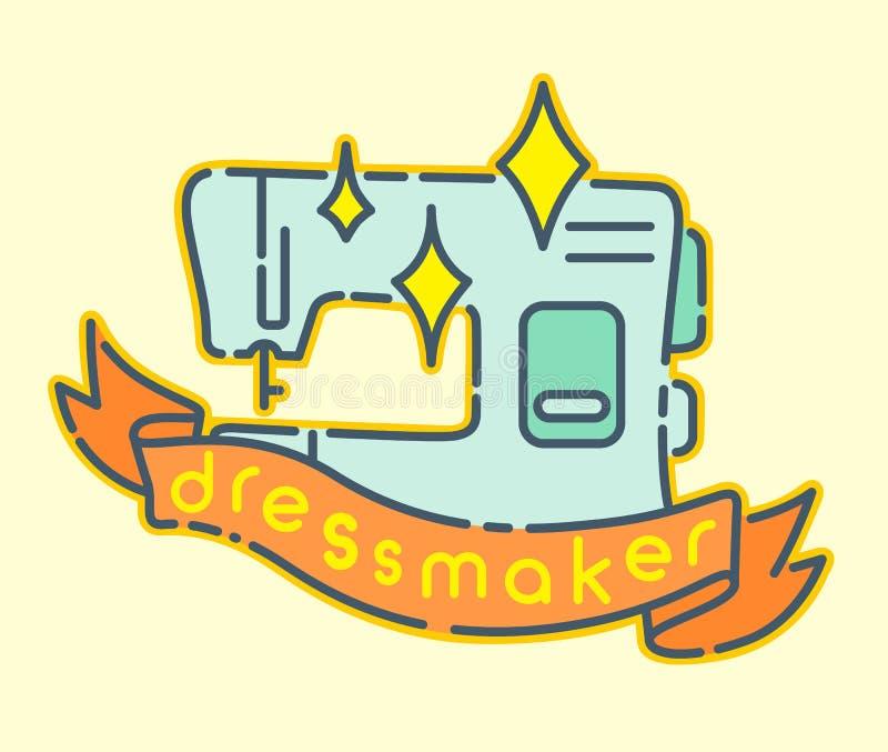 Icona piana di progettazione della macchina per cucire, segno del distintivo del sarto da donna illustrazione vettoriale