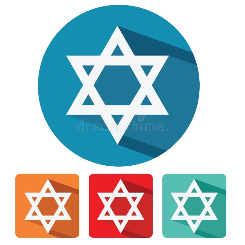 Icona piana di progettazione della stella di Davide di giudaismo illustrazione di stock