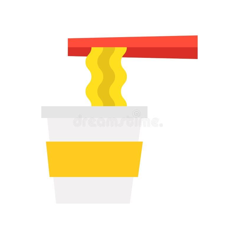 Icona piana di progettazione della tazza e del bastoncino della tagliatella illustrazione di stock