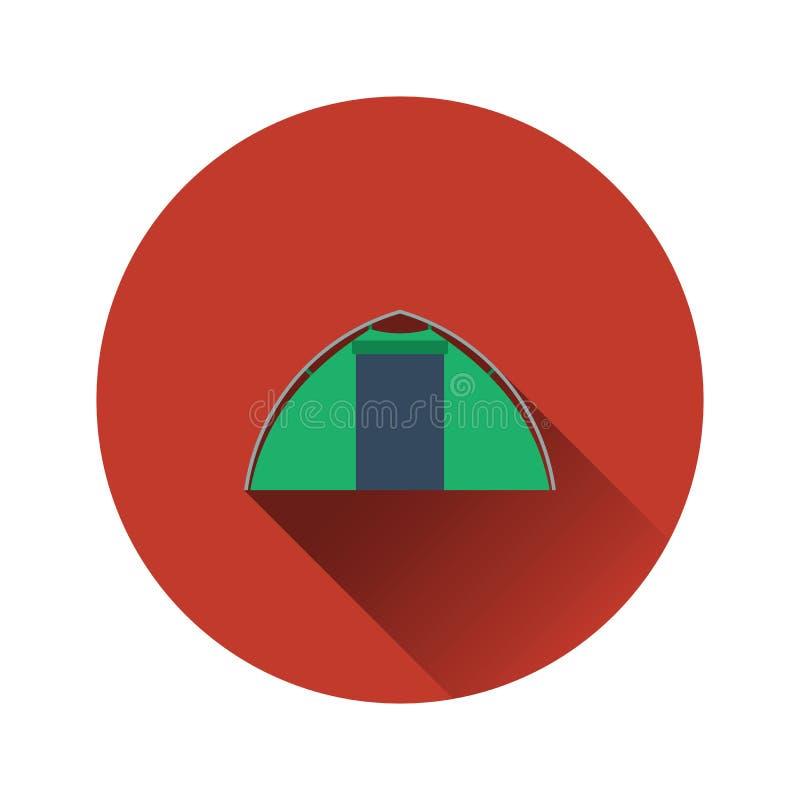 Icona piana di progettazione della tenda turistica illustrazione vettoriale