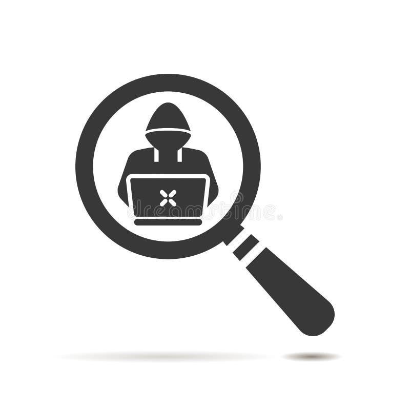 icona piana di ricerca con il simbolo della Software Engineer su briciolo illustrazione vettoriale