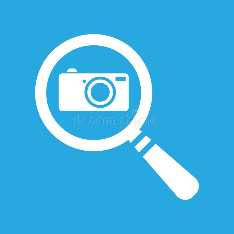 Icona piana di ricerca con la macchina fotografica su un fondo blu - vettore della foto royalty illustrazione gratis