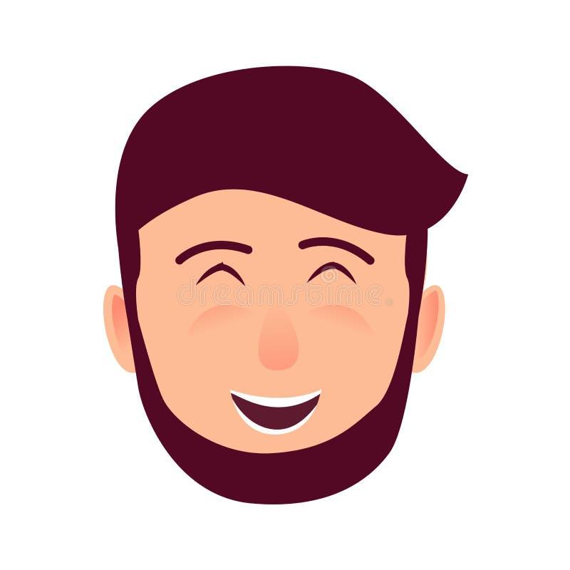 Icona piana di risata di vettore del fronte del giovane illustrazione di stock