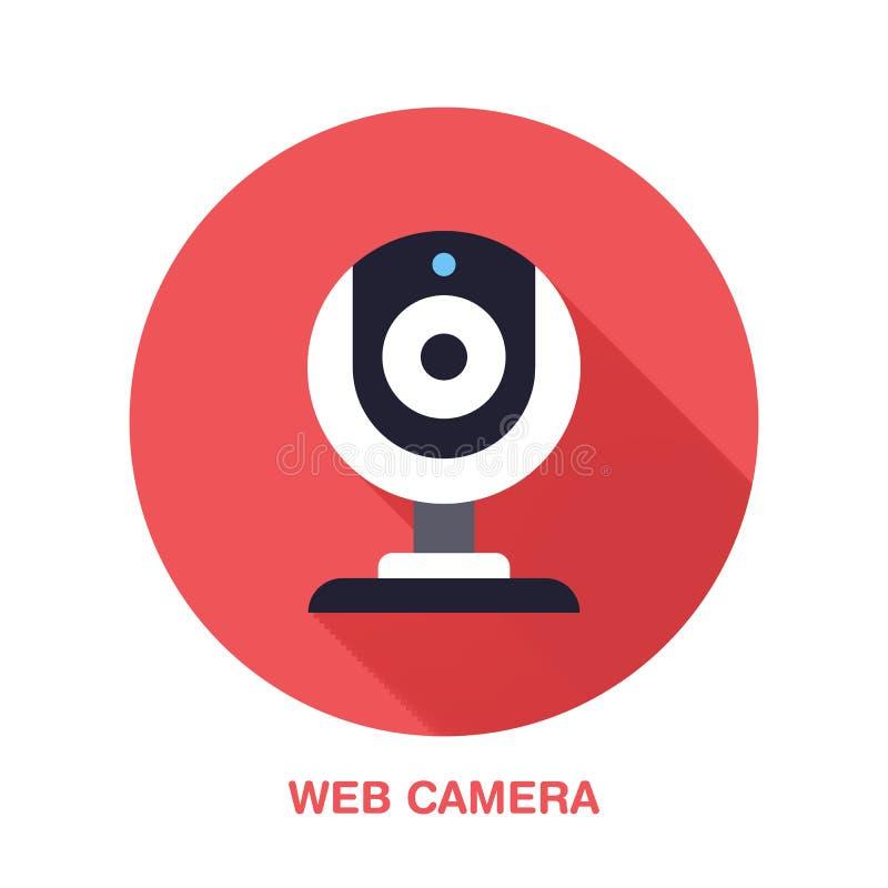 Icona piana di stile della macchina fotografica di web Tecnologia wireless, video segno del dispositivo del computer Illustrazion illustrazione vettoriale