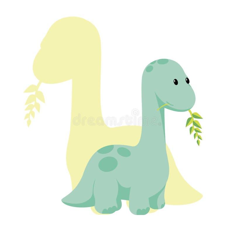 Icona piana di stile di Dino del bambino di vettore e la siluetta dei its - diplodocus o brontosauro - per il logo, manifesto, in royalty illustrazione gratis