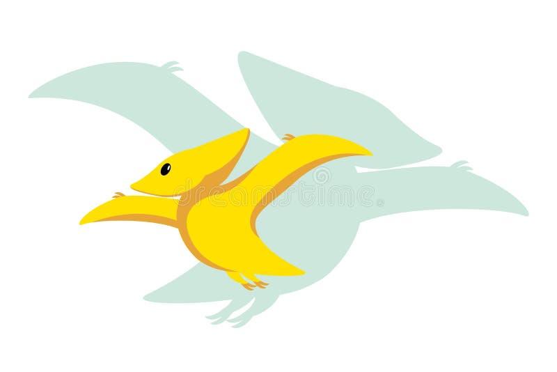 Icona piana di stile di Dino del bambino di vettore e la siluetta dei its - pterodattilo o pteranodon - per il logo, manifesto, i illustrazione vettoriale