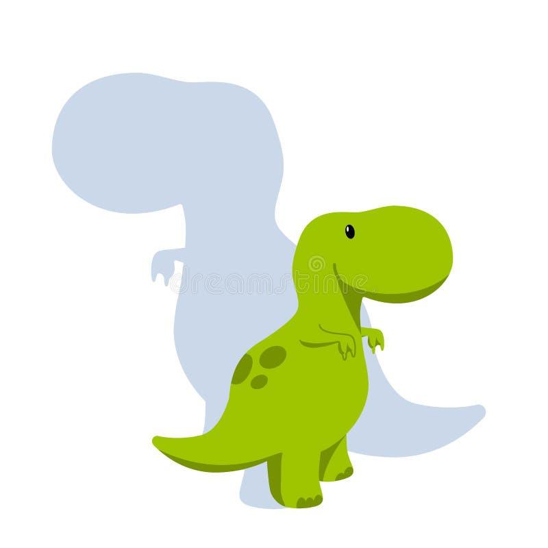 Icona piana di stile di Dino del bambino di vettore e la siluetta dei its - tirannosauro o t-rex - per il logo, manifesto, insegn royalty illustrazione gratis