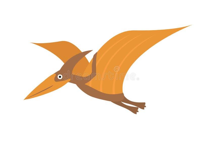 Icona piana di stile di Pterosaur Isolato su priorit? bassa bianca Illustrazione di vettore royalty illustrazione gratis