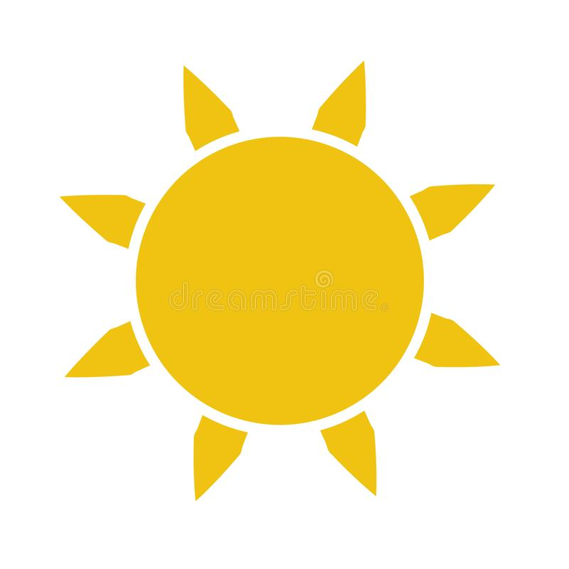 Icona piana di Sun Pittogramma di Sun illustrazione di vettore del modello royalty illustrazione gratis