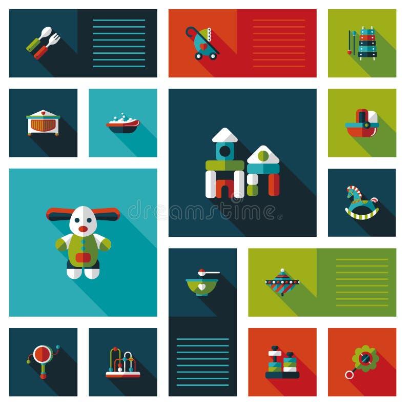 Icona piana di ui del bambino con ombra lunga, eps10 illustrazione di stock