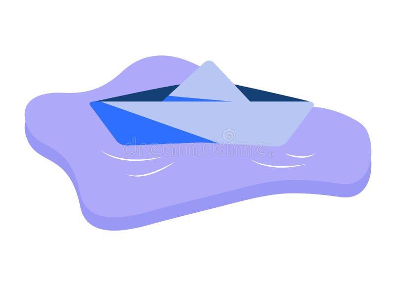 Icona piana di una barca di carta blu in pozza Vele della nave del giocattolo dei bambini in acqua Illustrazione di vettore del f illustrazione vettoriale