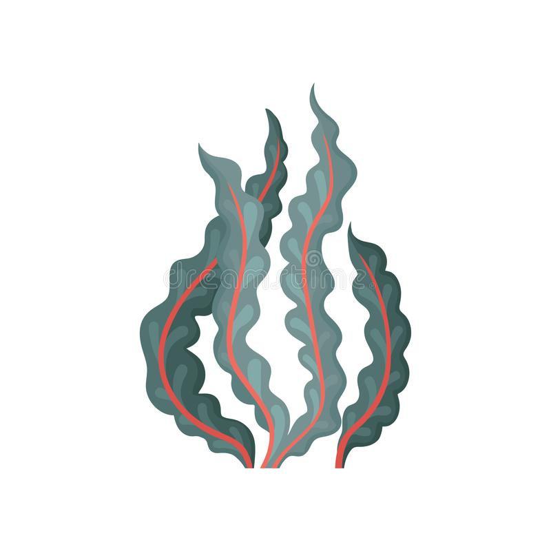 Icona piana di vettore di alga Pianta acquatica Elemento decorativo dell'acquario Tema di vita dell'oceano e del mare illustrazione vettoriale