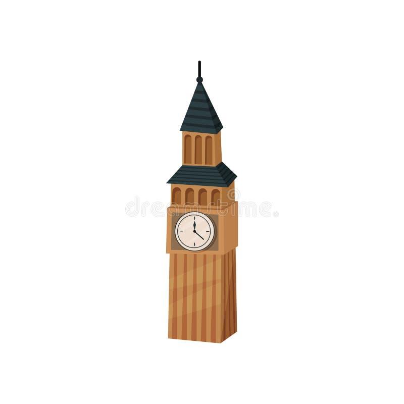 Icona piana di vettore di Big Ben Torre britannica con l'orologio Attrazione turistica popolare a Londra Punto di riferimento fam illustrazione vettoriale